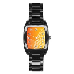 Abstract Orange Background Stainless Steel Barrel Watch