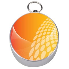 Abstract Orange Background Silver Compasses