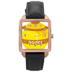 Honet Bee Sweet Yellow Rose Gold Leather Watch