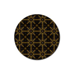 Digitally Created Seamless Pattern Tile Rubber Round Coaster (4 Pack)