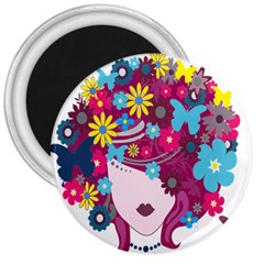 Floral Butterfly Hair Woman 3  Magnets