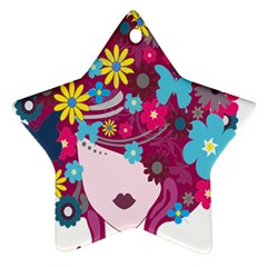 Floral Butterfly Hair Woman Ornament (star)