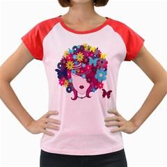 Floral Butterfly Hair Woman Women s Cap Sleeve T Shirt