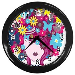 Floral Butterfly Hair Woman Wall Clocks (Black)