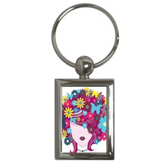 Floral Butterfly Hair Woman Key Chains (rectangle)