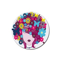 Floral Butterfly Hair Woman Rubber Coaster (round)