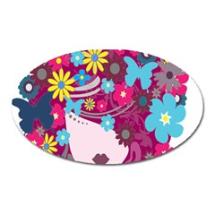 Floral Butterfly Hair Woman Oval Magnet