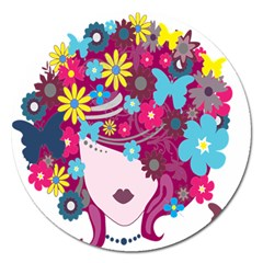 Floral Butterfly Hair Woman Magnet 5  (round)