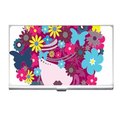 Floral Butterfly Hair Woman Business Card Holders