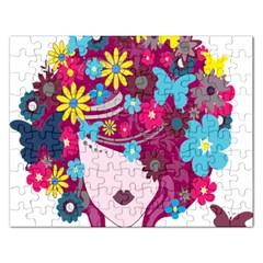 Floral Butterfly Hair Woman Rectangular Jigsaw Puzzl