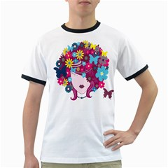 Floral Butterfly Hair Woman Ringer T Shirts