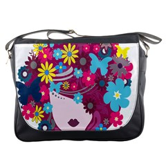 Floral Butterfly Hair Woman Messenger Bags