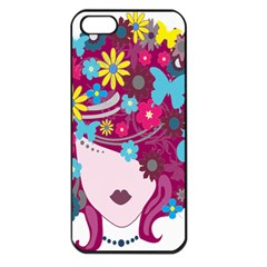 Floral Butterfly Hair Woman Apple Iphone 5 Seamless Case (black)