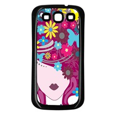 Floral Butterfly Hair Woman Samsung Galaxy S3 Back Case (Black)