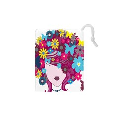 Floral Butterfly Hair Woman Drawstring Pouches (xs)
