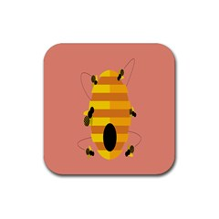 Honeycomb Wasp Rubber Square Coaster (4 Pack)