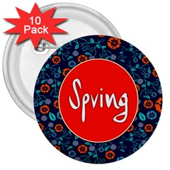 Floral Texture Pattern Card Floral Seamless Vector 3  Buttons (10 Pack)