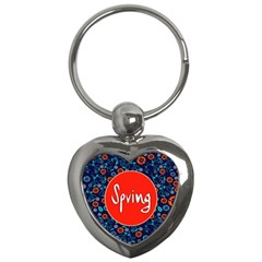 Floral Texture Pattern Card Floral Seamless Vector Key Chains (Heart)