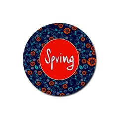 Floral Texture Pattern Card Floral Seamless Vector Rubber Round Coaster (4 pack)