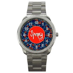 Floral Texture Pattern Card Floral Seamless Vector Sport Metal Watch