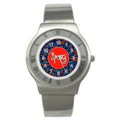 Floral Texture Pattern Card Floral Seamless Vector Stainless Steel Watch