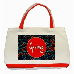 Floral Texture Pattern Card Floral Seamless Vector Classic Tote Bag (Red)