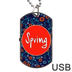 Floral Texture Pattern Card Floral Seamless Vector Dog Tag USB Flash (Two Sides)