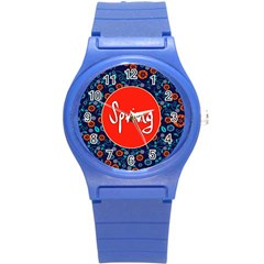 Floral Texture Pattern Card Floral Seamless Vector Round Plastic Sport Watch (S)