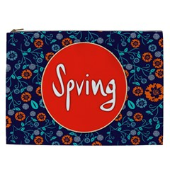 Floral Texture Pattern Card Floral Seamless Vector Cosmetic Bag (XXL)