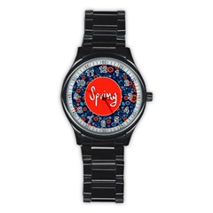 Floral Texture Pattern Card Floral Seamless Vector Stainless Steel Round Watch