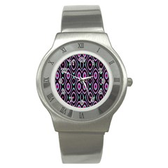 Colorful Seamless Pattern Vibrant Pattern Stainless Steel Watch