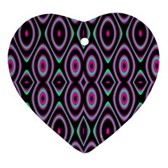 Colorful Seamless Pattern Vibrant Pattern Heart Ornament (two Sides)