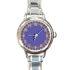 Frame Of Leafs Pattern Background Round Italian Charm Watch