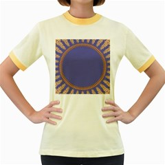 Frame Of Leafs Pattern Background Women s Fitted Ringer T Shirts