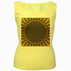 Frame Of Leafs Pattern Background Women s Yellow Tank Top