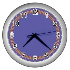 Frame Of Leafs Pattern Background Wall Clocks (silver)