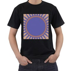 Frame Of Leafs Pattern Background Men s T-Shirt (Black) (Two Sided)