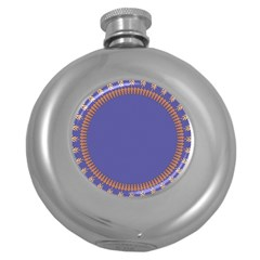 Frame Of Leafs Pattern Background Round Hip Flask (5 Oz)