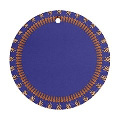 Frame Of Leafs Pattern Background Round Ornament (Two Sides)