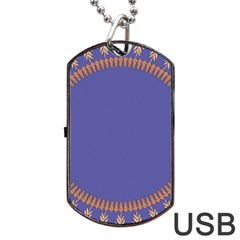 Frame Of Leafs Pattern Background Dog Tag USB Flash (Two Sides)