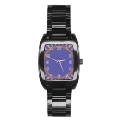 Frame Of Leafs Pattern Background Stainless Steel Barrel Watch