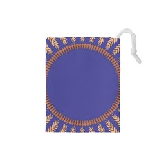 Frame Of Leafs Pattern Background Drawstring Pouches (Small)