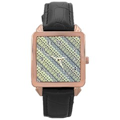 Abstract Seamless Background Pattern Rose Gold Leather Watch