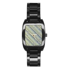 Abstract Seamless Background Pattern Stainless Steel Barrel Watch