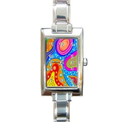 Hand Painted Digital Doodle Abstract Pattern Rectangle Italian Charm Watch