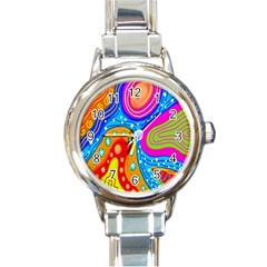 Hand Painted Digital Doodle Abstract Pattern Round Italian Charm Watch