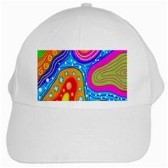 Hand Painted Digital Doodle Abstract Pattern White Cap