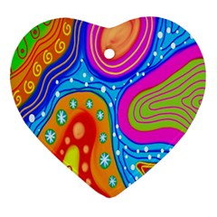 Hand Painted Digital Doodle Abstract Pattern Ornament (heart)