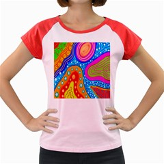 Hand Painted Digital Doodle Abstract Pattern Women s Cap Sleeve T-Shirt