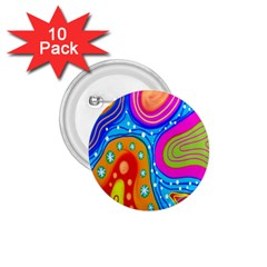 Hand Painted Digital Doodle Abstract Pattern 1 75  Buttons (10 Pack)